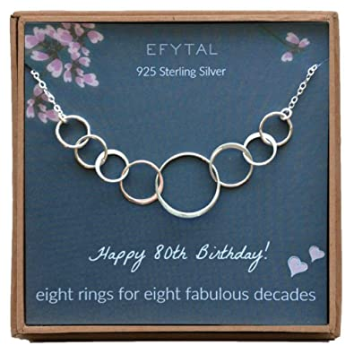 EFYTAL 80th Birthday Gifts For Women Sterling Silver Eight Circle Necklace Her 8 Decade Jewelry 80 Years Old