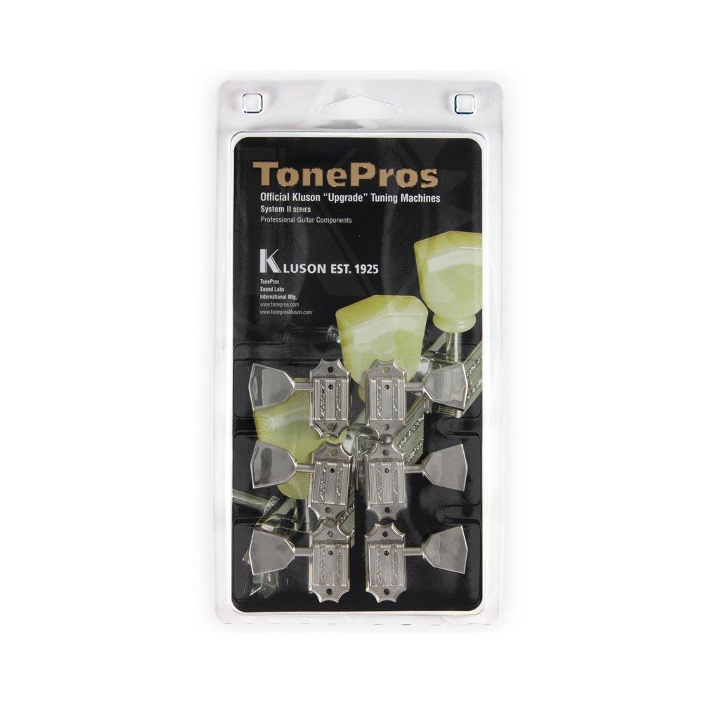 TonePros Kluson 3+3 Tuners with Metal Keystone Knobs and Threaded Bushings, Nickel