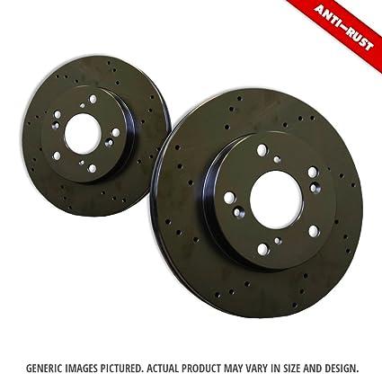 2 Black Zinc Plated Drilled Disc Brake Rotors 5lug Front Kit -Combo Brake Kit 4 Ceramic Pads