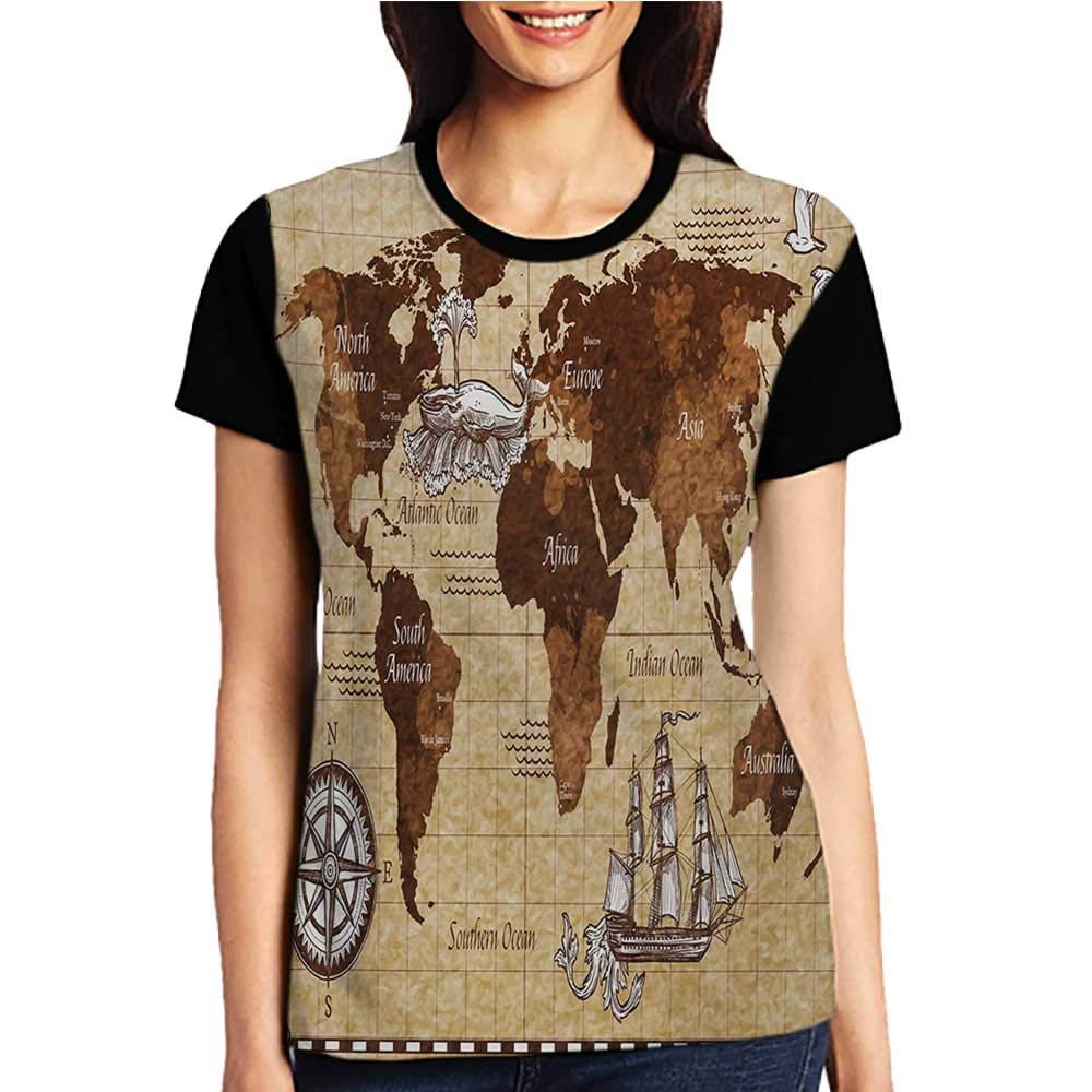 Summer Casual Short Sleeve,Map,Hand Drawn Sketch Retro World Map with Lettering Old Historic Artwork Print,Brown and Sand Brown S-XXL T Shirt Female Tight