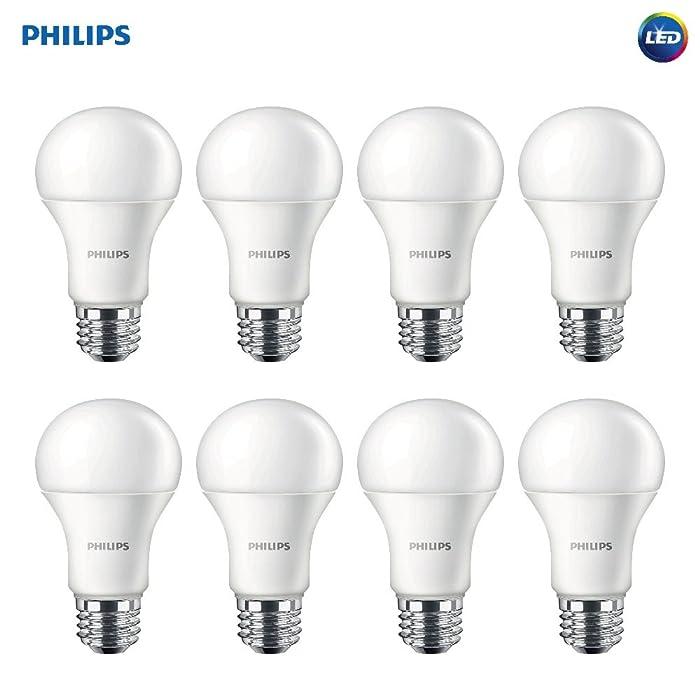 Philips 461961 LED Non-Dimmable A19 Frosted Light Bulb: 1500-Lumen, 2700-Kelvin, 14.5-Watt (100-Watt Equivalent), E26 Base, Soft White, 8-Pack