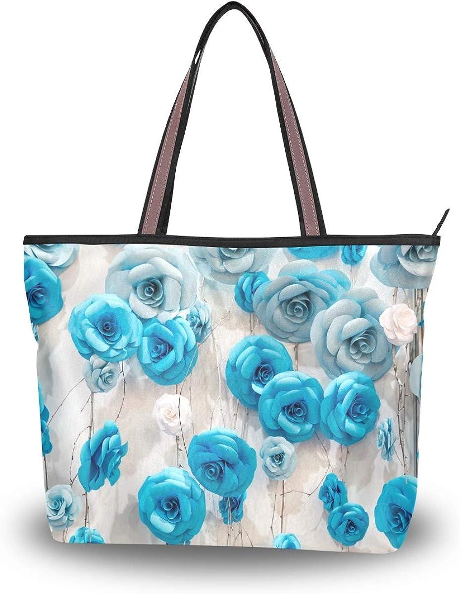Zip Tote Bag 3D Rose Flower Womens Handbags Shoulder Bags Satchel Purse
