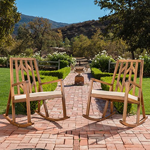 Christopher Knight Home Nuna Outdoor Wood Rocking Chair w/ Cushion (Set of 2)
