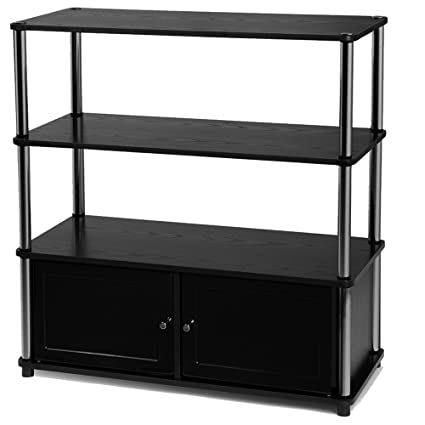 Ordinaire Black Wooden TV Stand With Shelves And 2 Door Cabinet Metal Frame Poles  Plastic Doors