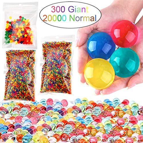 Leeche Non Toxic Water Beads Kit 300pcs Giant & 20000 Small Gel Beads for Kids-Value Package Sensory Toys and Decoration (300 Beads)