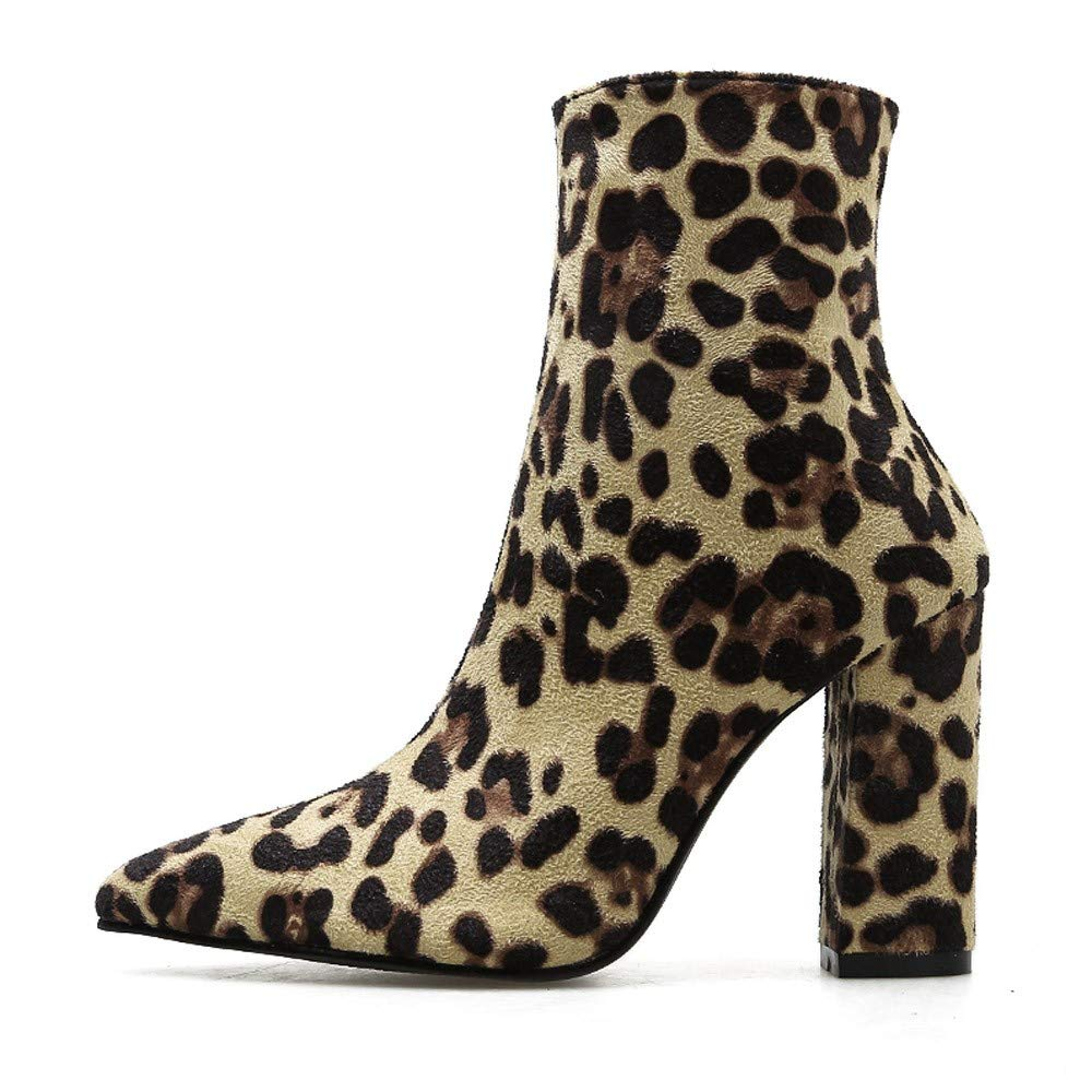 2b556a5ffe9bc Amazon.com: Women Snakeskin High Chunky Heel Boots,Cenglings Leopard ...