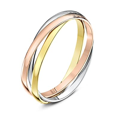 theia unisex highly polished 9 ct rose white and yellow gold 2 mm russian wedding - Russian Wedding Ring