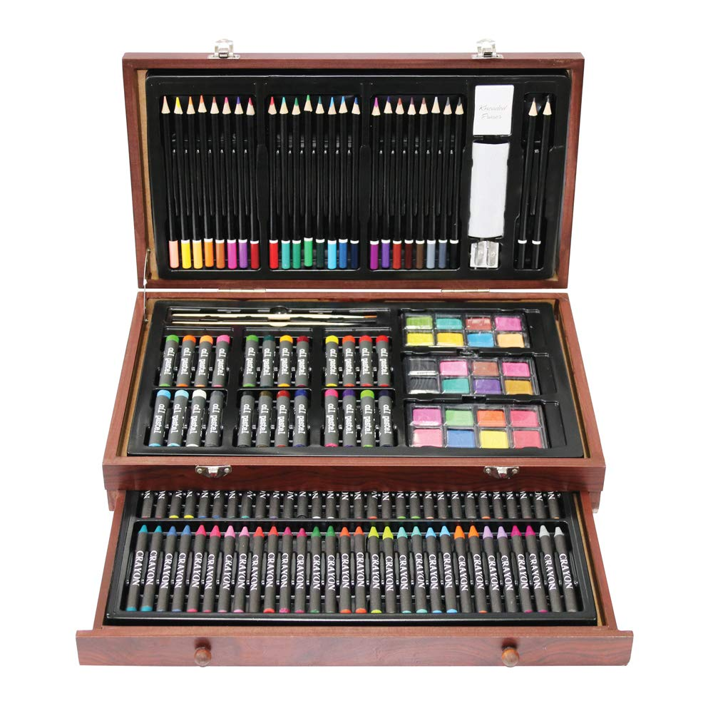 LUCKY CROWN 143 Piece Deluxe Art Set,Artist Sketching & Painting Set with Wooden Case,Professional Art Kit for Kids,Teens and Adults,You Need to get Started.