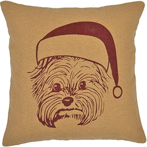 (VHC Terrier in Santa Hat Natural Burlap Christmas Throw Pillow Cover 16x16 Inches Holiday Decoration)