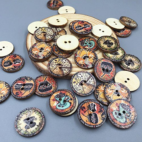 DIY 50X Crafts Retro Cup Pattern Wooden Buttons Sewing Scrapbooking 2 Holes 20mm ()