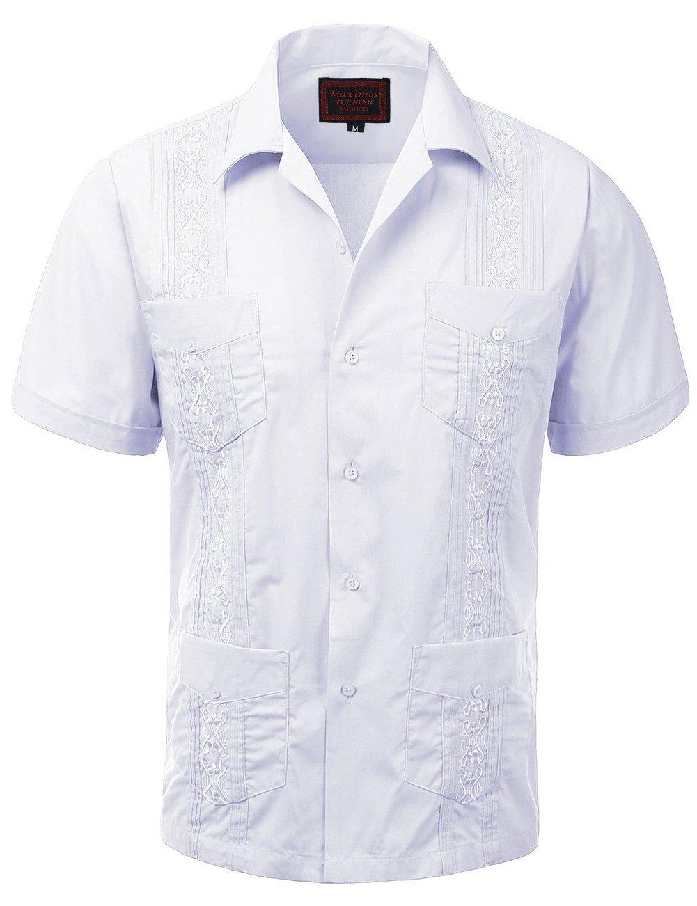 Zennyo Label Guayabera Men's Haband Cuban Wedding Short Sleeve Button-up Shirt-White-l