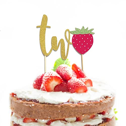 Amazon 1 Pc Two Strawberry Script Gold Glitter Cake Topper For Second Birthday Baby Toddler Boy Girl Fruit Summer Party Handmade