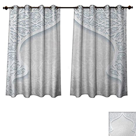 amazon com light blue bedroom thermal blackout curtains arabesque