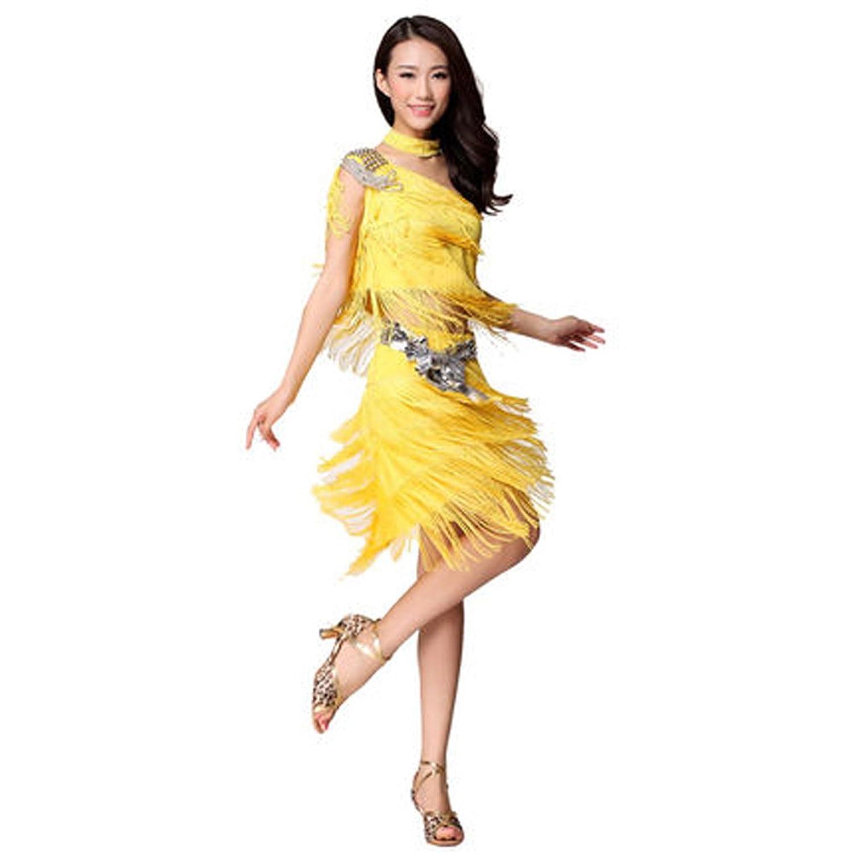 Womens Ladies Ballroom Dress Rivet Single Shoulder Latin Dance Skirt