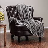 Chanasya Cloud Print Reversible Velvet Fleece Throw Blanket - for Couch Bed Sofa Chair Day Nap - Super Soft Cozy Snuggly Comfort Chick Plush Light Weight Sherpa Blanket - 60''x70'' - Grey