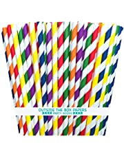 Outside the Box Papers Rainbow Stripe Paper Straws 7.75 Inches 150 Pack Red, Orange, Yellow, Green, Blue, Purple