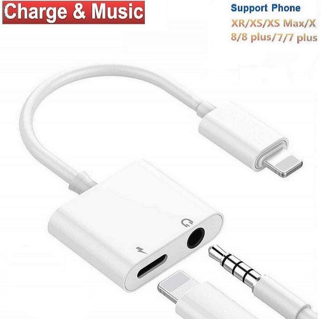 NURMUN Adapter for iPhone Adapter Charger Adapter 3.5mm Jack Dongle Earphone Aux Audio & Charge Compatible for iPhone7/7P/8/8P/X/XR/XS Support to Music and Charge Suitable for iOS11-12.1 System