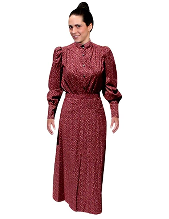 Edwardian Ladies Clothing – 1900, 1910s, Titanic Era Scully Long Cotton Skirt - Burgundy $54.74 AT vintagedancer.com
