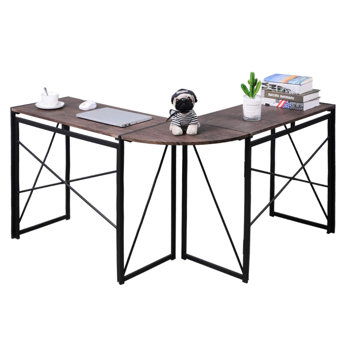No-Assembly Folding L-Shaped Computer-Desk Home Office Workstation Writing Study Corner Desk Laptop Table 47 x 15 x 29.5 Inches, Brown-VC1905 by Coavas