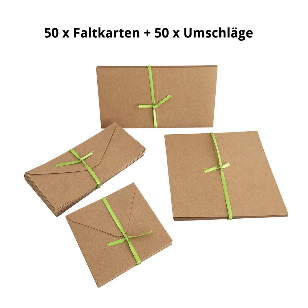 Set jumbo, buste e carte pieghevoli in cartone naturale, 50 carte + 50 buste in formato quadrato e DIN Lang, 100 pezzi in un set, ideale per il design fai-da-te EAST-WEST Trading GmbH