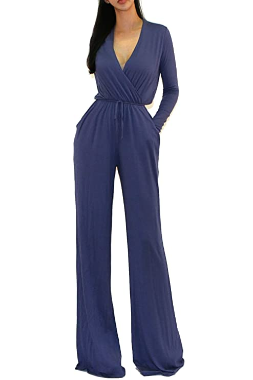 Vivicastle Women's Sexy Wrap Top Wide Leg Long Sleeve Cocktail Knit Jumpsuit (Large, Denim)