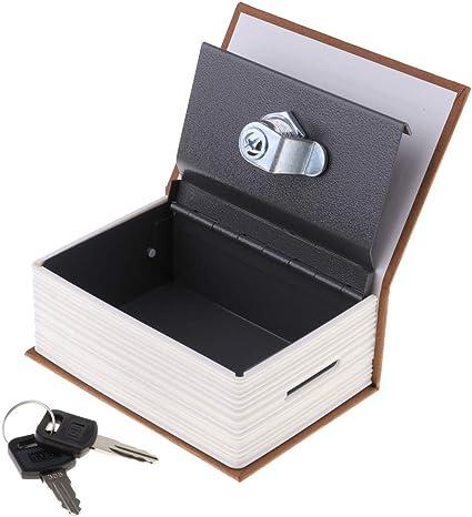 Caja de seguridad en Forma de Libro - Cerradura con Llave para Objetos de Valor - Cafe ligero: Amazon.es: Oficina y papelería