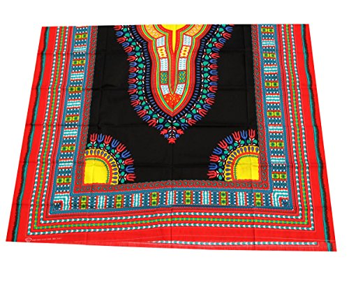 RaanPahMuang African Dashiki Black Cotton Fabric Suitable for 1 Shirt Design, Multicolour Red ()