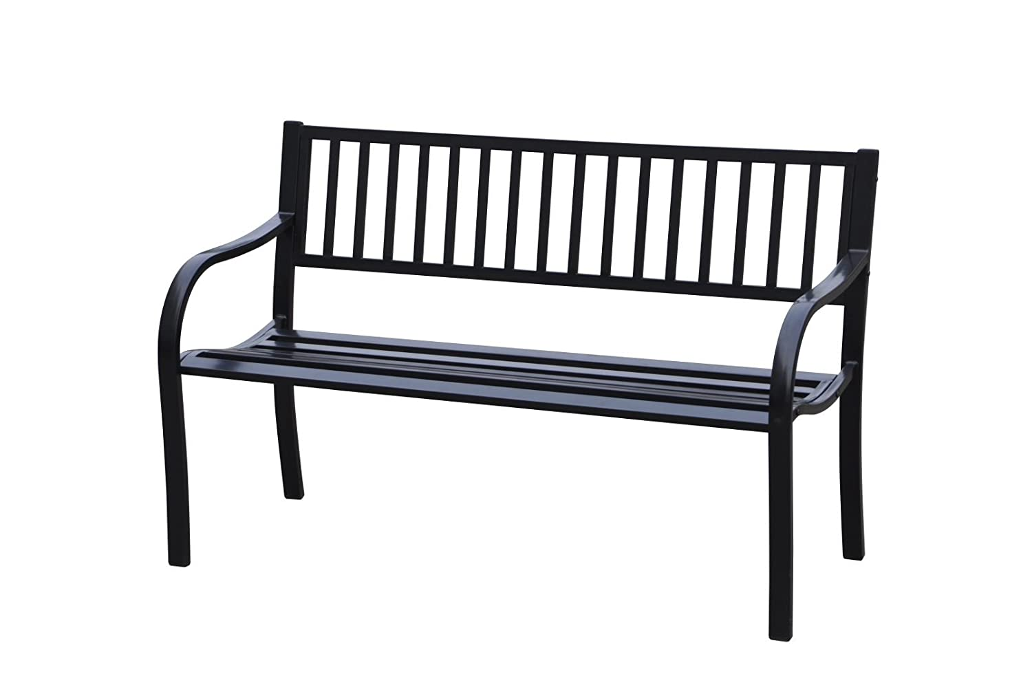 50'L Strap Curved Back Steel Park Bench