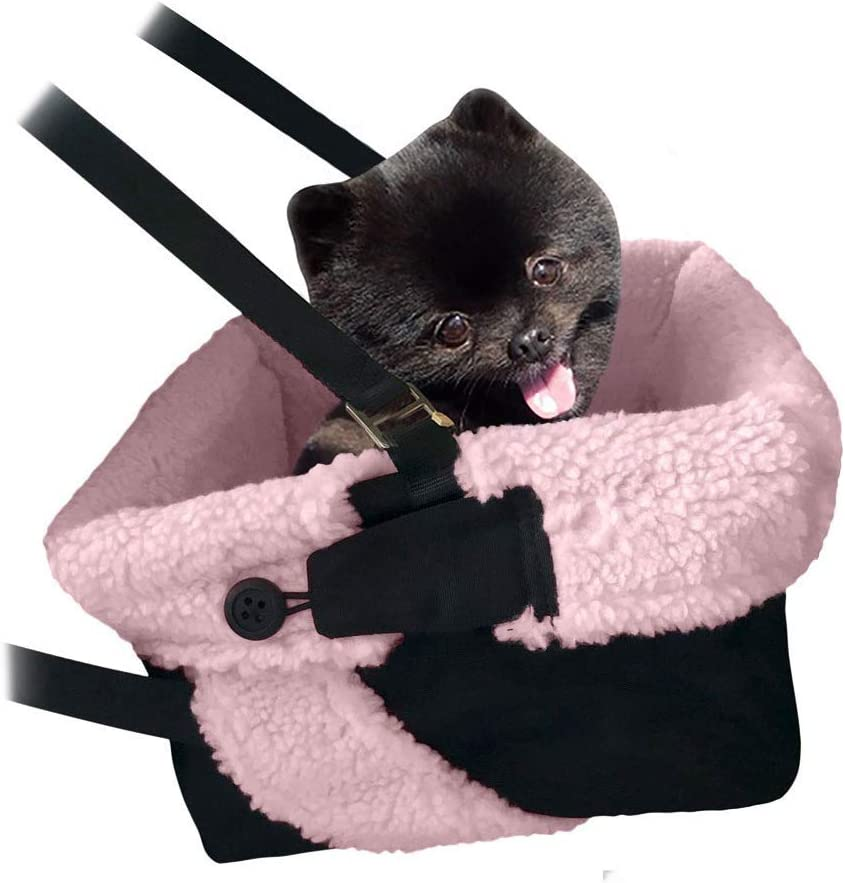 Pink and Black Cozy Boost with Clip On Leash- Premium Quality Dog Booster Seat and Collapsible Dish for Small Dogs, Puppies, and Pets Up to 20 lbs : Pet Supplies