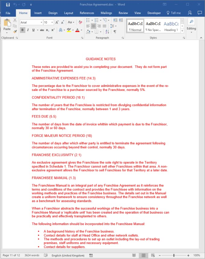Franchise Agreement Legal Template Download Amazon Software