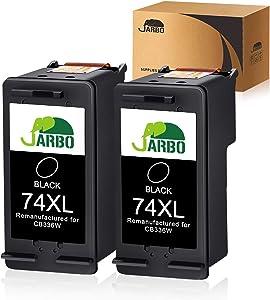 JARBO Remanufactured for HP 74XL 74 74 XL Ink Cartridges, 2 Black, Used in HP Officejet J6480 J5780 J5780 Deskjet D4260 D4360 Photosmart C4280 C5280 C4480 C4580 C4385 C5580 C5550 D5360 Printer
