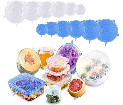 12pcs Reusable Silicone Stretch Lids Food Saver Bowl Can Jar Wraps Cover 6 Size