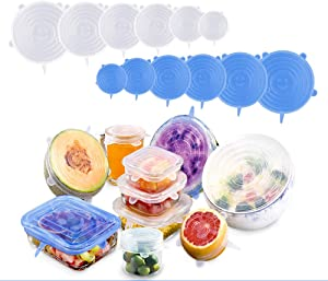 Silicone Stretch Lids,12 pcs Reusable Magic Lids Fit Various Sizes and Shapes of Containers,Durable Food Storage Covers for Bowls,Keeping Food Fresh