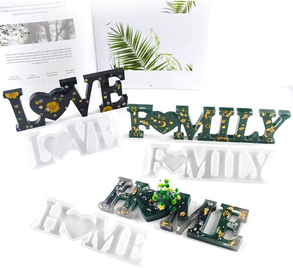 iClosam 3PCS Letters Resin Molds,Family Home & Love Silicone Molds DIY Resin Casting Mould Handmade Creative for Home Decorations,Gift
