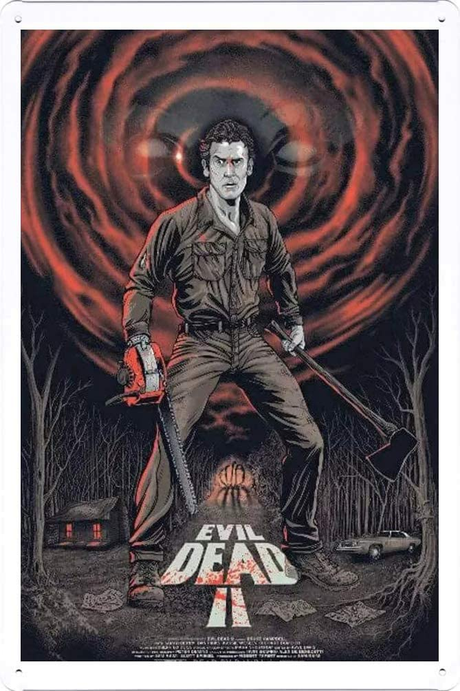 Metal Tin Sign Evil Dead 2 Movie Tin Sign 8x12inch for Home Bar Coffee Wall Decor
