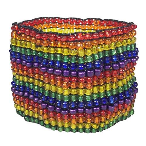 Gypsy Jewels Multi Color Glass Beads Handmade Statement Stretch Bracelet (Rainbow Pride) ()