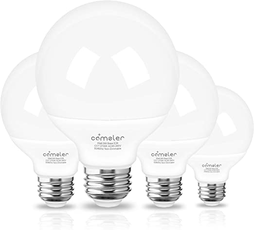 LED Vanity Light Bulb,G25 Globe Light Bulbs 9W 900LM,Comzler Bathroom Vanity Bulbs (60W Equivalent) 2700K Soft White,E26 Base Makeup Mirror Lights for Bedroom,Non-Dimmable,Pack of 4
