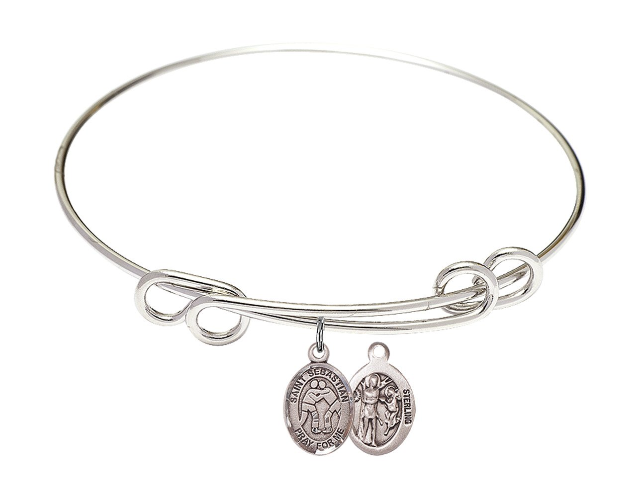 8 1/2 inch Round Double Loop Bangle Bracelet with a St. Sebastian/Wrestling charm. by F A Dumont