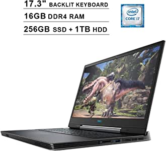 Dell 2020 G7 7790 17.3-Inch FHD 1080P Gaming Laptop, Intel 6-Core i7-9750H up to 4.50 GHz, NVIDIA RTX 2060 6GB, 16GB DDR4 RAM, 256GB SSD (Boot) + 1TB HDD, USB-C, RGB Backlit KB, Win10, Abyss Gray
