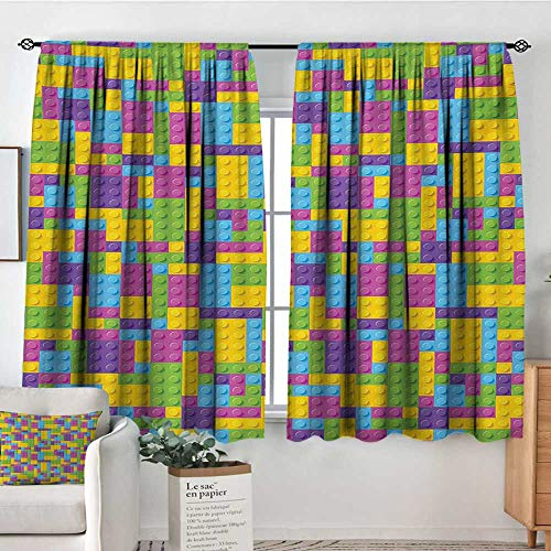 All of better Kids Custom Curtains Colorful Plastic Construction Blocks Cube Geometric Childhood Game Illustration Patterned Drape for Glass Door 72