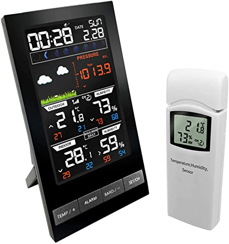 Brown Wireless Weather Station Radio Clock Weather Forecast Temperature Indicator Multi Band