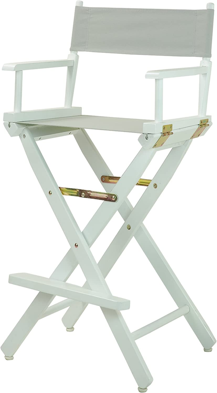 Casual Home Director's Chair ,White Frame/Gray Canvas,30