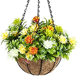 IBEUTES 7.8 inch Artificial Hanging Flower Succulent Plants Hanging Baskets Silk Plants Decor Indoor Outdoor (No Assembly Required) 100