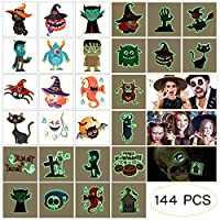 Amosfun Halloween Tattoos for Kids 144Pcs Assorted Halloween Tattoos Glow in The Dark Tattoo Stickers Pumpkin Spider Spooky Stickers-24 Designs