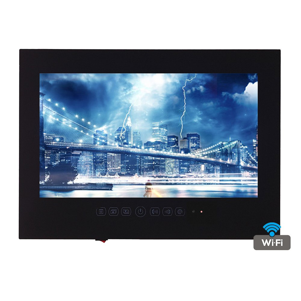 Soulaca Android Black Glass Panel Frameless Bathroom LED Full HD 1080 Waterproof TV TB215FS (Black)