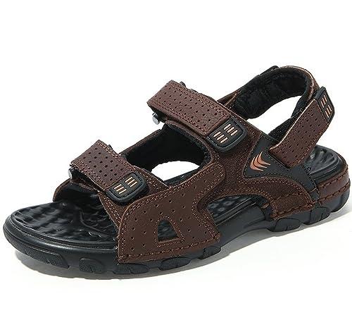 SK Studio Uomo Sportivi Sandali Pelle Spiaggia Sandalo da Trekking Leggero  Peep Toe Velcro Scarpe  Amazon.it  Scarpe e borse 555b6ec0878