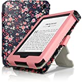 iGadgitz 'Desginer Collection' Pink Rose Floral Pattern PU 'Bi-View' Leather Case Cover for Amazon Kindle 2014 (Touchscreen) 7th Generation with Viewing Stand + Auto Sleep/Wake + Hand Strap