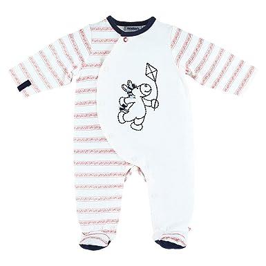 c03796d830d06 Noukie s Noukies Pyjama grenouillère en Jersey Bébé Garçon Rouge Blanc 0M