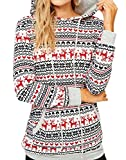 For G and PL Christmas Women Snow Flake Cotton Loose Casual Sweatshirt Hoodie Gifts Pocket Knitted Pattern Tunic Tops White M