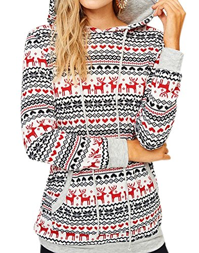 Knitted Fair Isle Dress - For G and PL Christmas Women Cotton Casual Gifts Pocket Knitted Pattern Snow Flake Sweatshirt Hoodie Tops White S
